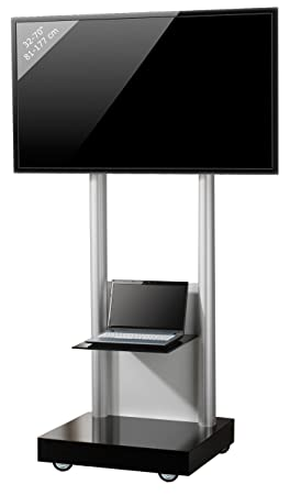 """VCM """"Monte-Visolo 2"""" TV Stand with Shelve, Black Glass"""