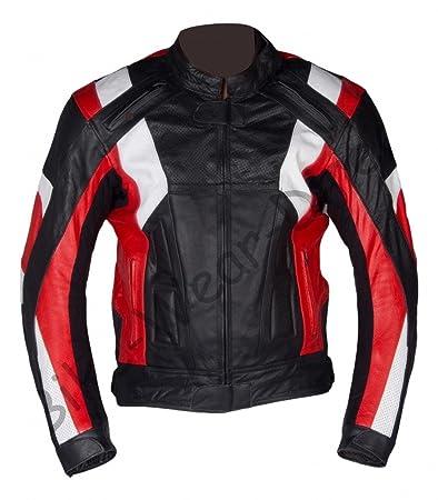 Qualité Hommes Rouge / Blanc blindé Moto Leather Jacket