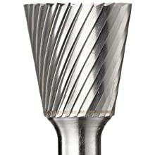 PFERD Inverted Taper Carbide Bur, Uncoated (Bright) Finish, Single Cut, End Cut End