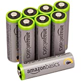AmazonBasics AA High-Capacity Rechargeable Batteries (8-Pack) Pre-charged - Battery Packaging May Vary (Renewed) (Color: Black, Tamaño: AA 8 Pack)