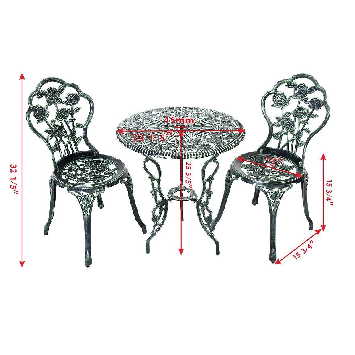 Giantex Patio Furniture Cast Aluminum Rose Design Bistro Set Antique Green (Green) 1