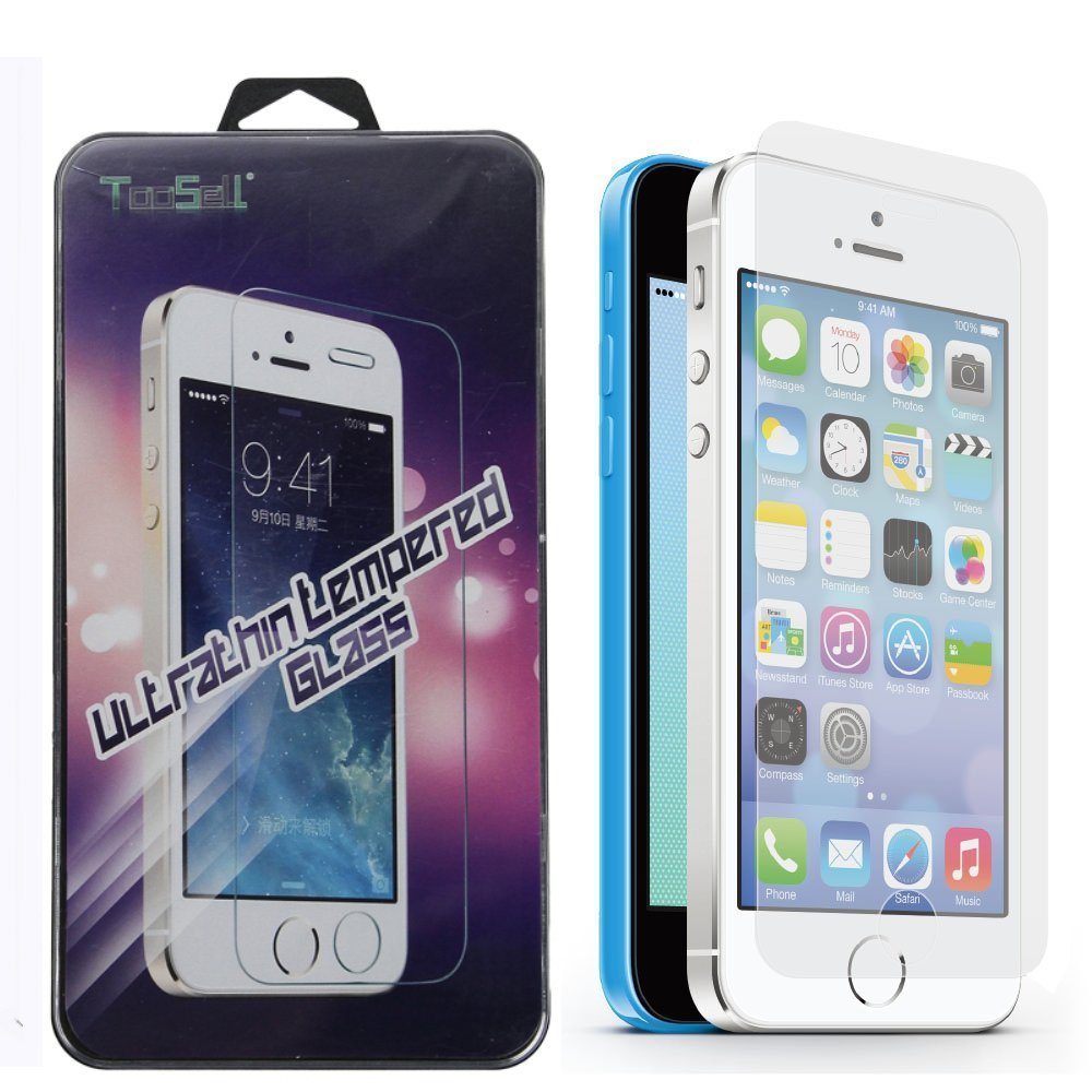 TooSell 3 Pack Premium Tempered Glass Screen Protector for iPhone 5s, iPhone 5, iPhone 5c (iPhone 5s/5c/5)