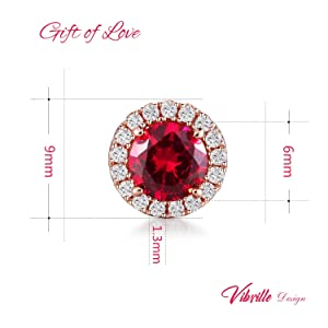 Vibrille 6mm Created Ruby Sterling Silver Rose Gold Tone Stud Earrings for Women with Cubic Zirconia Halo