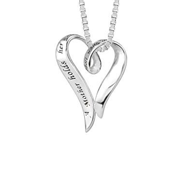 "Sterling Silver ""A Mother Holds Her Child's Hand For A Short While and Their Hearts Forever"" Open Heart Pendant Necklace, 18″"
