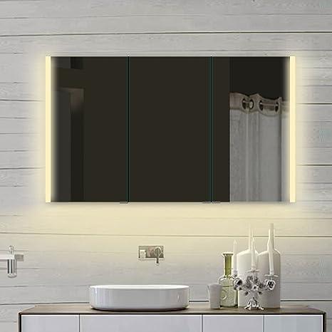 Cometa armadietto a specchio da bagno LED illuminazione caldo e freddo bianco 3X beiderseitig porte a specchio in 6mm Telaio in alluminio 120x 70x 12cm