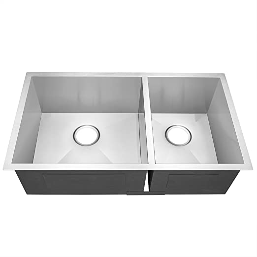 "Golden Vantage 32"" Undermount Handmade 16 Gauge Zero Radius Stainless Steel Kitchen Sink (60/40 Dual Bowl)"