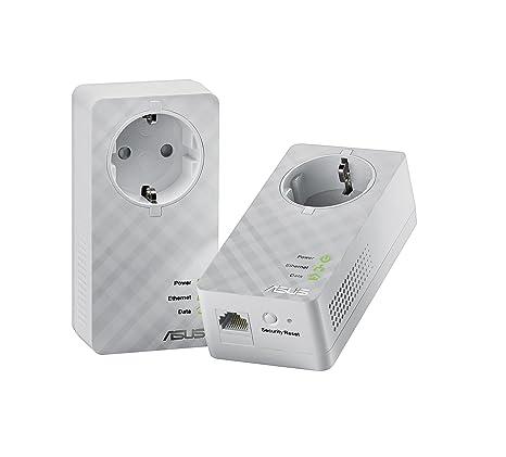 Asus PL-E52P Duo Adaptateur Domestique Powerline Gigabit 600 Mpbs, Kit avec Prise Supplémentaire