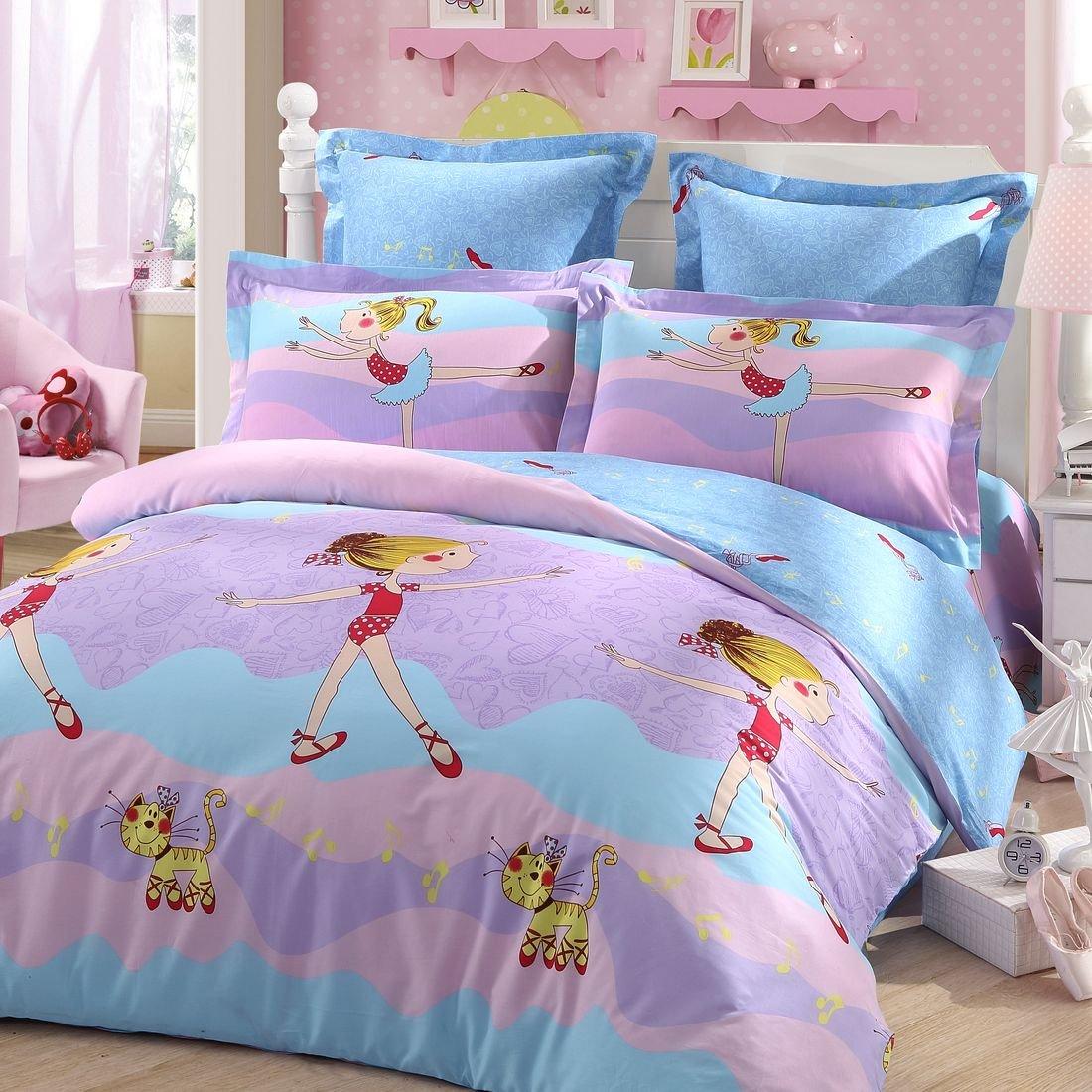 LOVO KIDS Purple Girl Dance 100% Cotton 300-Thread-Count Bedding Sheet Set 3pcs 1x Duvet Cover,1x Flat sheet & 1x Pillowcase Twin