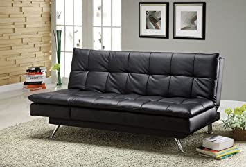 Hasty collection Black Leatherette upholstered Futon Sofa/ Bed/ Chaise with chrome legs