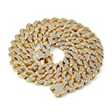 JINAO 14mm 18k Gold Plated All ICED Out Simulated Diamond Miami Cuban Chain Necklace (Gold, 24) (Color: Gold)