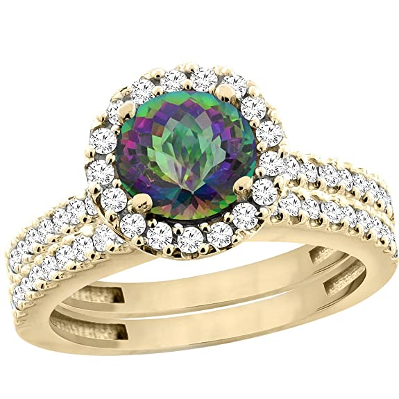 14ct Yellow Gold Natural Mystic Topaz Round 6mm 2-Piece Engagement Ring Set Floating Halo Diamond, sizes J - T