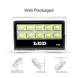 FAISHILAN 400W LED Flood Light, Super Bright Outdoor IP66 Waterproof Floodlight, 40000Lm, 6500K for Garage, Garden, Lawn and Yard (Color: 400W)