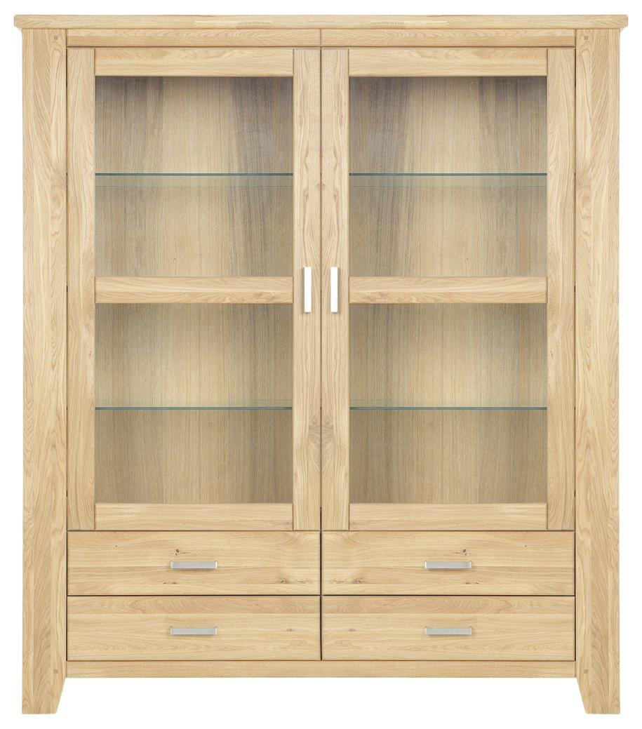 Firstloft 117-0300 Vitrine, Loft mit 2 Glastüren und 4 Schubkästen, Wildeiche massiv, 144 x 206 x 47 cm, geölt