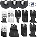 Oscillating Saw Blades, Ohuhu 28PCS Multitool Quick Release Saw Blades Kit, Metal Wood Plastic Oscillating Tool Blades, for Sanding, Grinding and Cutting, Fit Dewalt Fein Multimaster Bosch and More