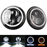 Suzuki Samurai 1986-1995 7 Inch Round Cree LED Headlights White Halo Ring Angel Eyes+Amber Turning Signal Lights