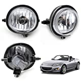 iJDMTOY One Pair Fog Lights Foglamps w/ Halogen Bulbs For Mazda 2 3 5 6 MPV MX-5 Miata CX-7 CX-9 (OEM #LE45-51-690C, LE46-51-680C)