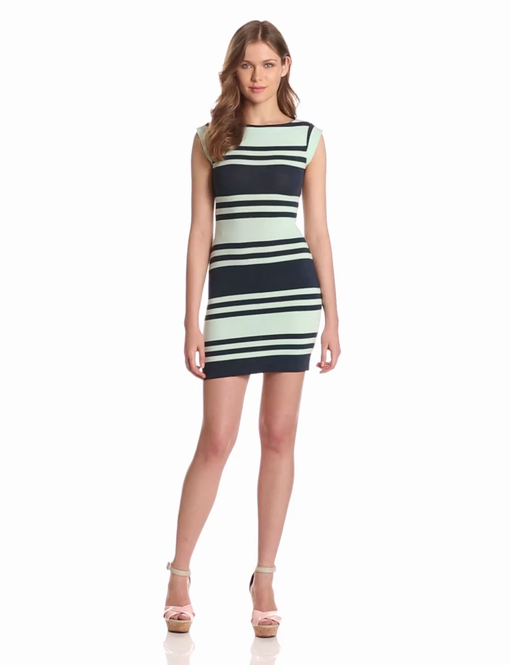 French Connection Womens Jag Stripe Cap Sleeve Dress