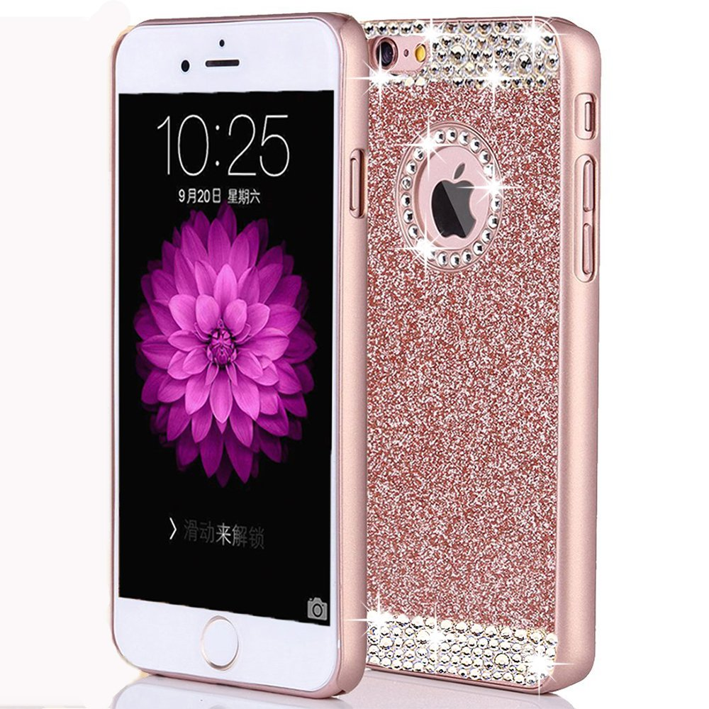 iPhone 6 Plus/6s Plus Case,ARSUE (TM) Luxury Hybrid Beauty Crystal Rhinestone With Gold Sparkle Glitter PC Hard Protective Diamond Case Cover For iPhone 6 Plus/6s Plus (5.5inch) (Rose Gold / Bling)