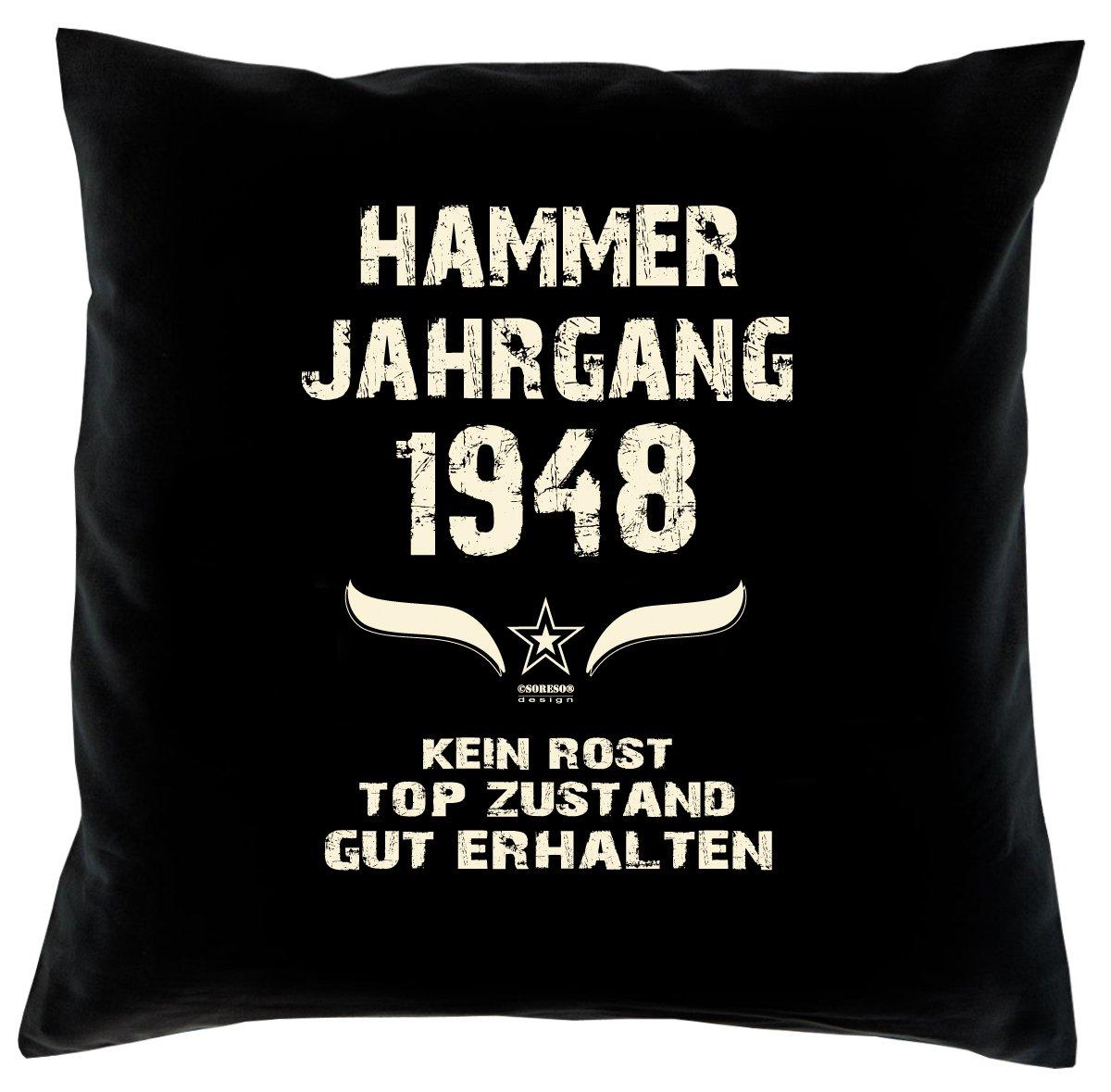 Cooles – Fun – Kissen – Sitzkissen – Zum 68. Geburtstag – Hammer Jahrgang 1948 Farbe: Schwarz – Größe: 40 x 40 cm bestellen