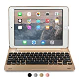 Cooper Kai SKEL Q0 Keyboard case Compatible with iPad Pro 9.7, iPad Air 2 | Bluetooth Wireless Clamshell Cover with Keyboard | 60HR Battery, 14 Shortcut Button | Apple A1673 A1674 A1566 A1567 (Gold) (Color: Gold, Tamaño: Apple iPad Air 2 / Pro 9.7)