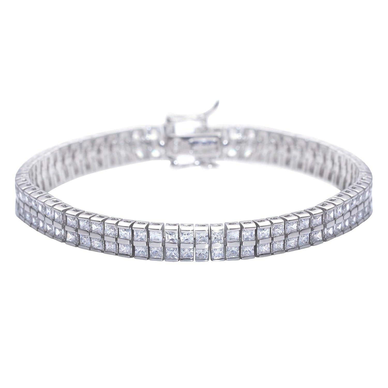 Silverly Frauen 925 Sterling Silber Zirkonia Platz Doppeltafel Tennis Armband, 18 cm günstig bestellen