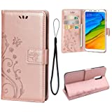 Teebo Wallet Case for Xiaomi Redmi 5 Plus, 3 Card Holder Embossed Butterfly Flower PU Leather Magnetic Flip Cover for Xiaomi Redmi 5 Plus(Rose Gold) (Color: A1-Rose Gold)