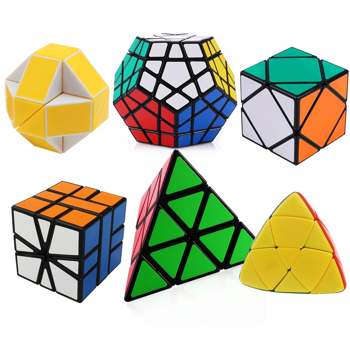Dreampark Set of 6 Magic Speed Cube Pyraminx, Megaminx, Oblique, Mastermorphix, Square-1 SQ1 and Magic Snake Yellow and White Twisty Toy Puzzle - Perfect Gift Puzzle Box for Kids, teens, and adults.