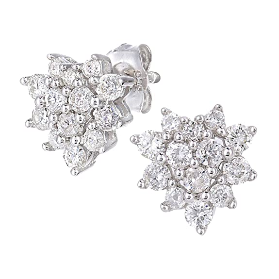 Naava 9ct White Gold 0.50ct Total Diamonds Cluster Earrings