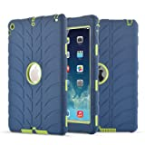 iPad Air Case,iPad 5 Case, UZER Tire Pattern Shockproof Anti-slip Silicone High Impact Resistant Hybrid Three Layer hard PC+Silicone Armor Protective Case Cover for iPad Air/iPad 5 2013 Old Model (Color: Navy+Green)