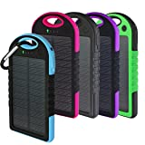 Solar Charger, Powercam, 10,000 mAh, Waterproof, Drop Resistant, Shockproof, for iPhones, iPads, Android, Samsung phones, GPS devices and Cameras (Blue) (Color: Blue)
