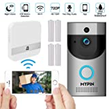 WiFi 720P Video Doorbell Camera,Waterproof IP65 Wireless Doorbell with Cloud Storage and Security Camera with Chime and Battery, Two-Way Talk, PIR Motion Detection, Night Vision (Color: Silver)