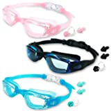 MOTOEYE Kids Swim Goggles Pack of 3,Swimming Glasses Children Early Teens,Boys Girls from 3 to 15 Years Old Anti-Fog UV Protection Lenses (Color: Black & Blue & Pink)