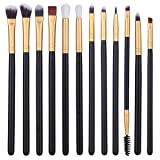 12Pcs Eye Makeup Brushes, Professional Eye Brush Set for Shading or Blending of Eyeshadow Crease Powder Eyebrow Eyeliner Highlighter Brush Essential C