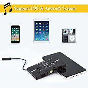 CICMOD Car Audio Cassette Adapter Tape Aux Receiver for iPhone iPod Android Samsung Black (Color: Black)