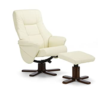Serene Furnishings - Drammen Faux Leather Swivel and Recliner Chair With Mahogany Legs