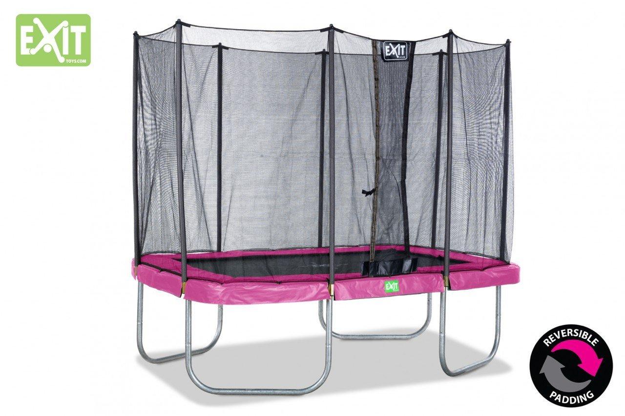 EXIT Twist Trampolin pink/grau 214 x 305 cm / rechteckiges Trampolin mit Sicherheitsnetz / Gewicht: 91 kg / max. Belastbarkeit: 120 kg günstig