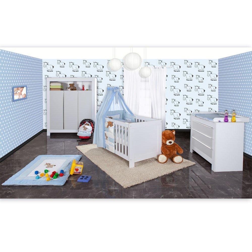 Babyzimmer Felix in weiss/grau mit 3 türigem Kl 19 tlg. + Prestij, blau