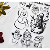 Scrapbook Ink Rubber Clear Stamp Set For DIY Card Making (snowman) (Color: snowman)