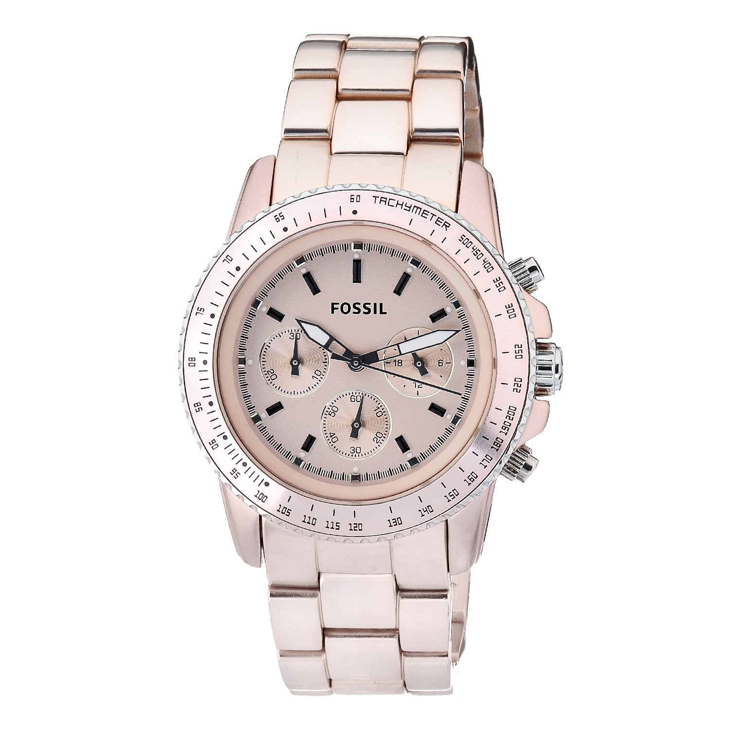 brand new fossil ch2707 stella s pink chronograph
