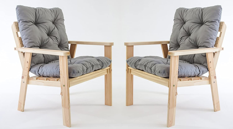GARDENho.me 2er Set Massivholz Sessel Gartenstuhl Stuhl HANKO inkl. Kissen Nordisches Design Natur jetzt bestellen