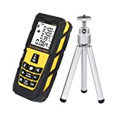 DMiotech Laser Distance Measure 131ft 40m Mini Handheld Digital Laser Distance Meter Rangefinder Measurer Tape Yellow with Tripod (Tamaño: 131ft Yellow with Tripod)