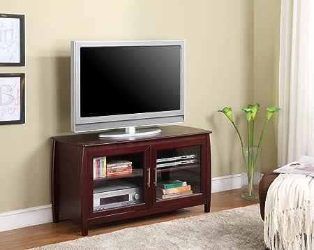 Cherry Finish Double Door Plasma TV Stand Entertainment Center With Storage