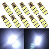 GrandviewTM 10PCS T10 W5W 194 / 921 5630 9SMD Can-bus LED WHITE W5W T10 LED SIDE LIGHT BULBS (Color: White, Tamaño: 31*10.5mm)