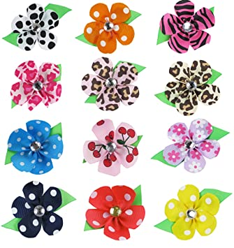 "HipGirl Boutique 12pc Set 2"" Grosgrain Ribbon Flower Hair Bow Clips"