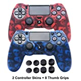 Skins for PS4 Controller - DualShock 4 Silicone Skins Water Printed Protector Case Set for Sony PS4, PS4 Slim, PS4 Pro - 2 Pack Skull PS4 Controller Cover - 4 Pairs PS4 Thumb Grips - Red & Blue (Color: Skull Red+Blue)
