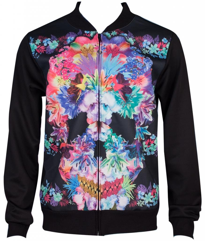 Sublimation Floral Skull Men's Bomber Style Jacket