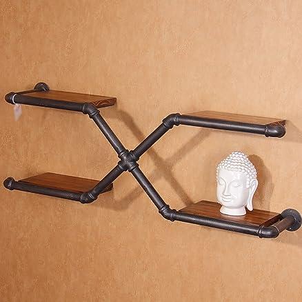 Pareti attrezzate Mensole Rack Decorazione Loft Industriale vento Ferro Librerie parete pareti Solid ripiani in legno Retro creativo Water Pipes mobili Mensola industriale