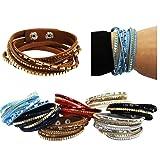 Bracelets for Women - 4 Pack Cuff Bracelet - Multi Strand Bracelet - Leather Bracelet by CoverYourHair