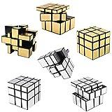 6 Pack Mirror Speed Cubes | Puzzle 3x3x3 Gold & Silver Mirror Magic Cube Bulk Set | Kids Brain Teaser Party Favors