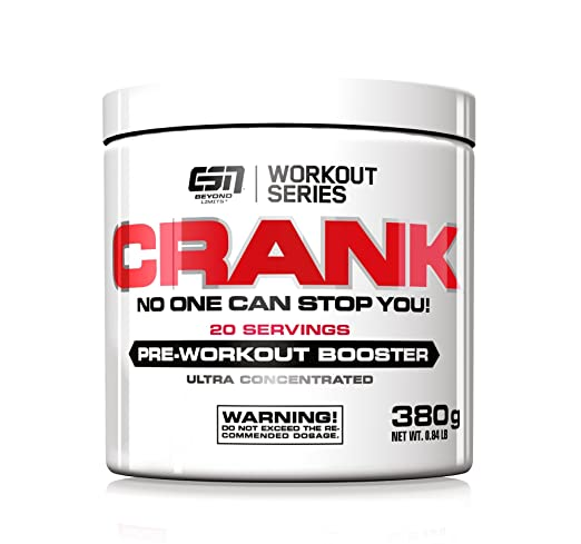 ESN Crank – Pre-Workout Booster, Tropical Punch, Workout Series, Dose mit Dosierlöffel, 1er Pack (1 x 380g)